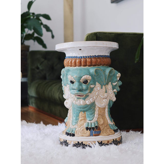 Asian 1960s Ceramic Three Sided Foo Dog Garden Stool For Sale - Image 3 of 7