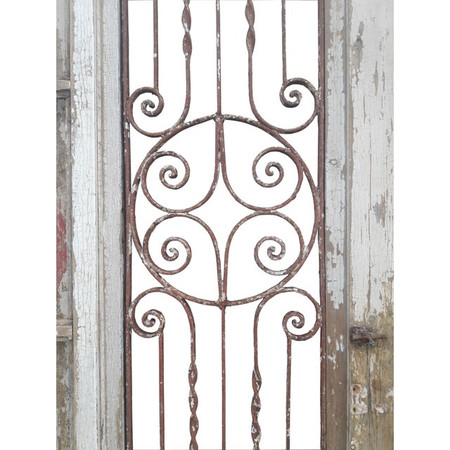 Antique French Iron Grill Door Rustic Farmhouse Natural Doors - a Pair For Sale In Philadelphia - Image 6 of 11