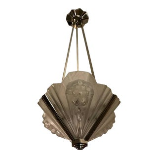 French Art Deco Pendant Chandelier Signed by Atelier Petitot For Sale