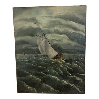 Sailboat at Sea Oil Painting by Weber, 1894
