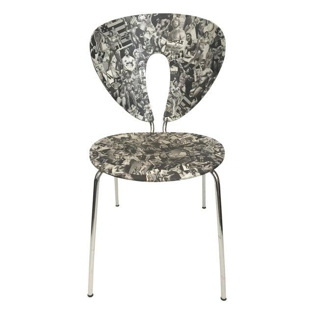 Bodybuilder Decoupage Modernist Chair - Image 1 of 11