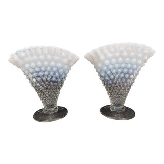 Fenton Opalescent Hobnail Glass Vases - a Pair For Sale