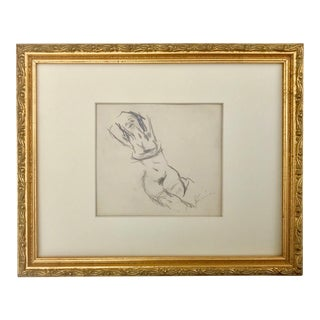 Original Drawing of a Reclining Nude Female by Jack Levine For Sale