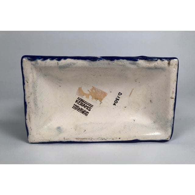 Blue Boch Freres Art Deco Geometric Ceramic Vase For Sale - Image 8 of 9