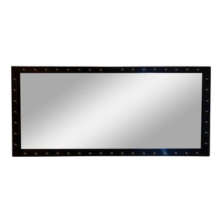 Studded Leather Look Wall Mirror For Sale