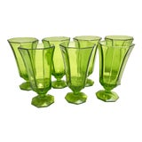 Image of Mid-Century Modern Green Glass Water Goblets - Set of Seven For Sale