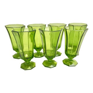 Mid-Century Modern Green Glass Water Goblets - Set of Seven For Sale