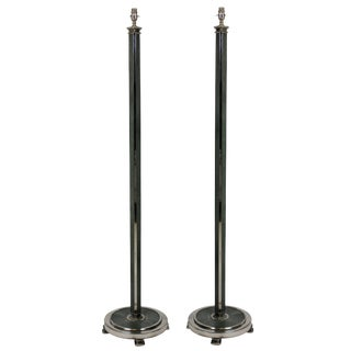 Pair of Silver and Shagrin Floor Lamps For Sale