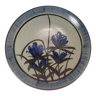 Mid Century Japanese Otagiri Style Stoneware Shallow Serving Bowl For Sale