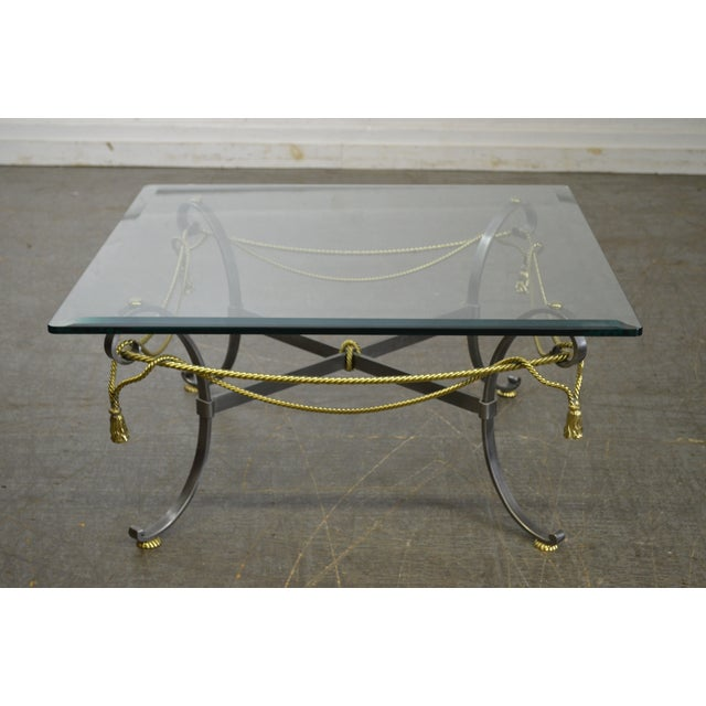 LaBarge Brushed Steel & Brass Rope Tassel Square Glass Top Coffee Table - Image 4 of 10