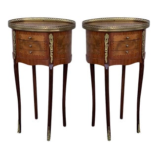 19th Century Bouillotte Louis XVI Style, Kidney Shaped Bronze and Walnut Table For Sale
