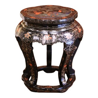 Vintage Chinese Carved Hand Painted Barrel Circular Garden Stool or Table For Sale