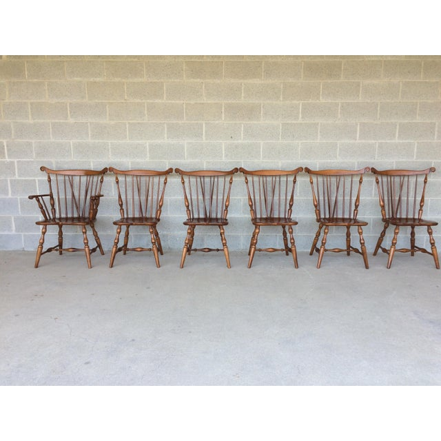 Tell City Set of 6 Windsor Brace Back Maple Dining Chairs, 5 Side Chairs and 1 Arm Chair. In Excellent Vintage Furniture...