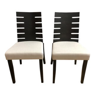 Rinaldo Wenge + Fabric Chairs - a Pair For Sale