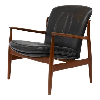 Teak and Leather Lounge Chair by Finn Juhl for France and Daverkosen For Sale