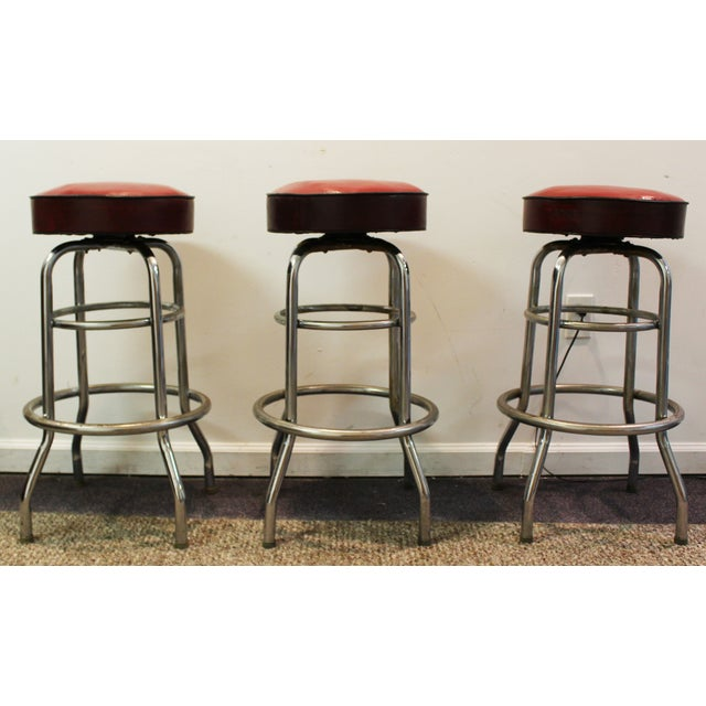 Mid Century Modern Swivel Bar Stools -- Set of 3 - Image 2 of 11