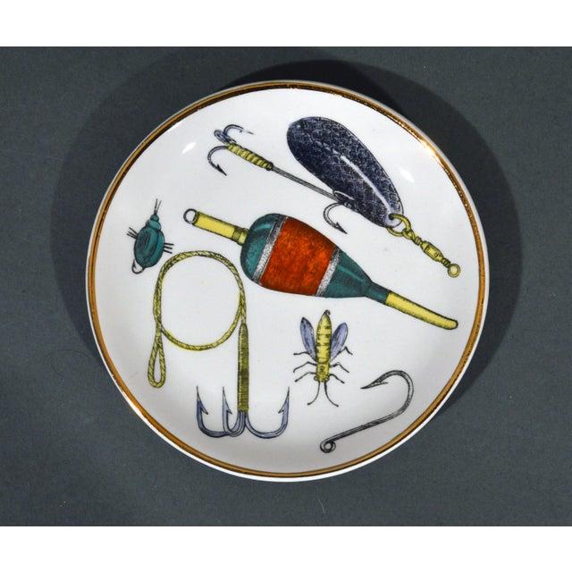 Metal Piero Fornasetti La Pesca Fishing Lures Coaster Set With Original Box For Sale - Image 7 of 13