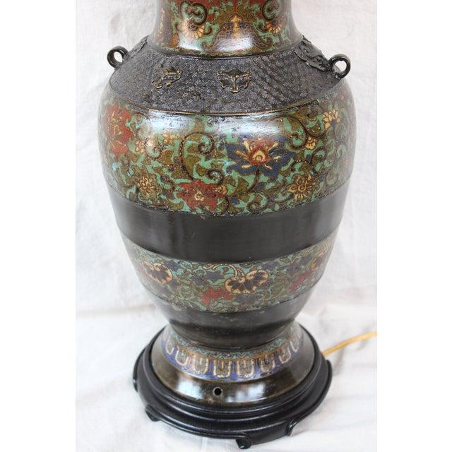 Large Champleve Enameled Urn Lamp - Image 6 of 7
