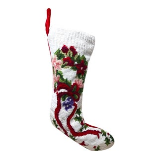 Vintage Handmade Velvet & Wool Needlepoint Christmas Stocking Sock For Sale