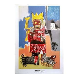 "Jean Michel Basquiat Rare Lithograph Print Iconic Large Pop Art Swiss Exhibition Poster "" Crown "" 1982 For Sale"