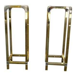 1970's Mid Century Modern Mastercraft Brass Pedestals - a Pair For Sale
