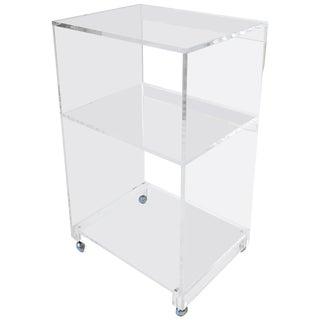 Lucite Bar Cart or Storage Shelf Cabinet For Sale