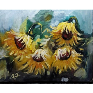 Sunflowers Impressionistic Oil on Canvas For Sale
