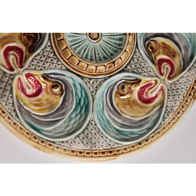 Majolica Fish Heads Oyster Plate by Onnaing, 1800s For Sale - Image 9 of 13