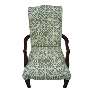 "1970s Vintage ""Parterre"" Williamsburg Lime Walnut Accent Chair For Sale"