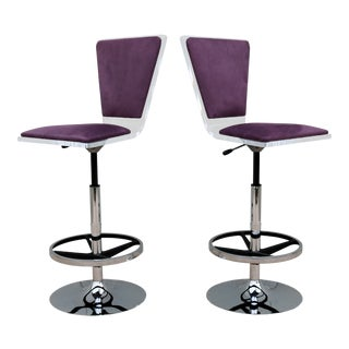 Purple Suede & Acrylic Shlomi Haziza Barstools - A Pair For Sale