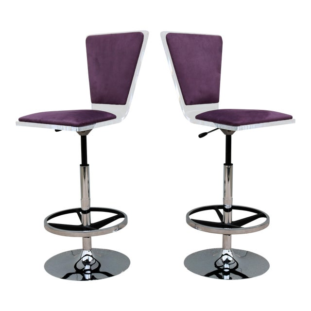 Purple Suede & Acrylic Shlomi Haziza Barstools - A Pair For Sale