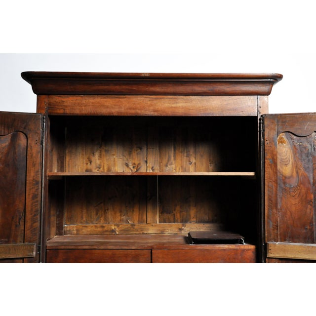 Brass French Walnut Armoire For Sale - Image 7 of 13