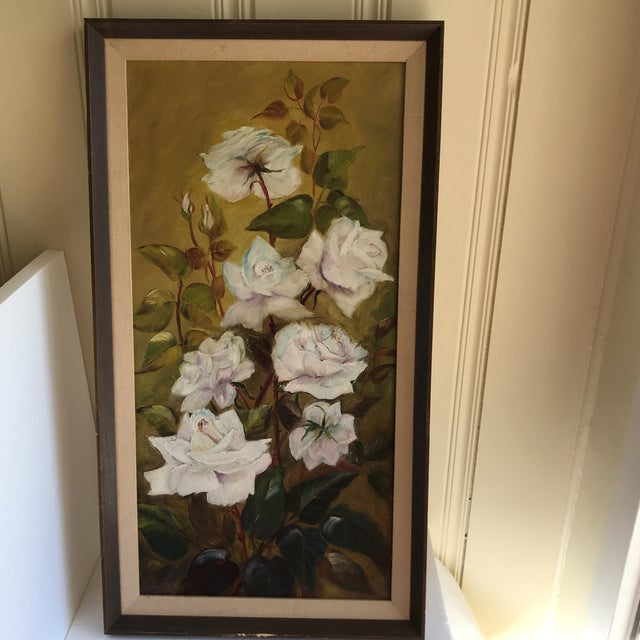 Cottage Vintage Blooming White Roses Framed Oil Painting For Sale - Image 3 of 10
