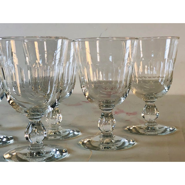 Glass 1950s Mitred Glass Wine Stems, Set of 6 For Sale - Image 7 of 9