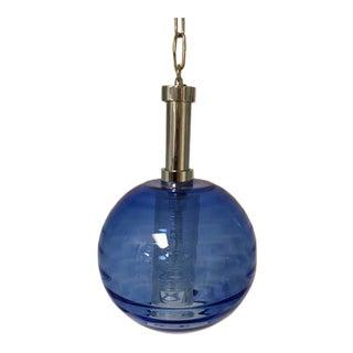 Hand Blown Cobalt Blue Glass Pendant Light For Sale