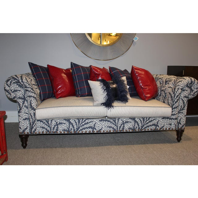 Tufted Tight Back Sofa w/ Loose Seats, TurnedLegs and Nailhead Pattern, Seat: Spring Down Finish: Driftwood Large Nail...
