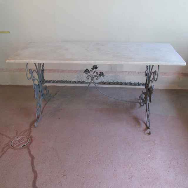 Antique circa 1900 French painted sculpted steel and marble console table with both indoor and outdoor applications.....