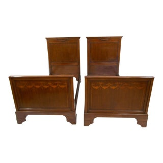 French Style Inlaid Twin Beds - A Pair For Sale