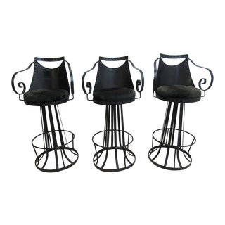 Vintage Spanish Gothic Metal Swivel Bar Stools - Set of 3