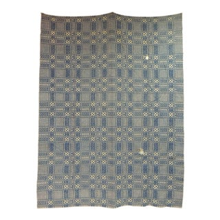 Vintage Americana Style Blue and White Woven Coverlet For Sale