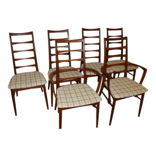 Mid Century Danish Original Teak Ladder Back Dining Chairs- Set of 6 For Sale