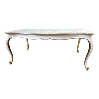 French Provincial White and Gold Leaf Dining Table