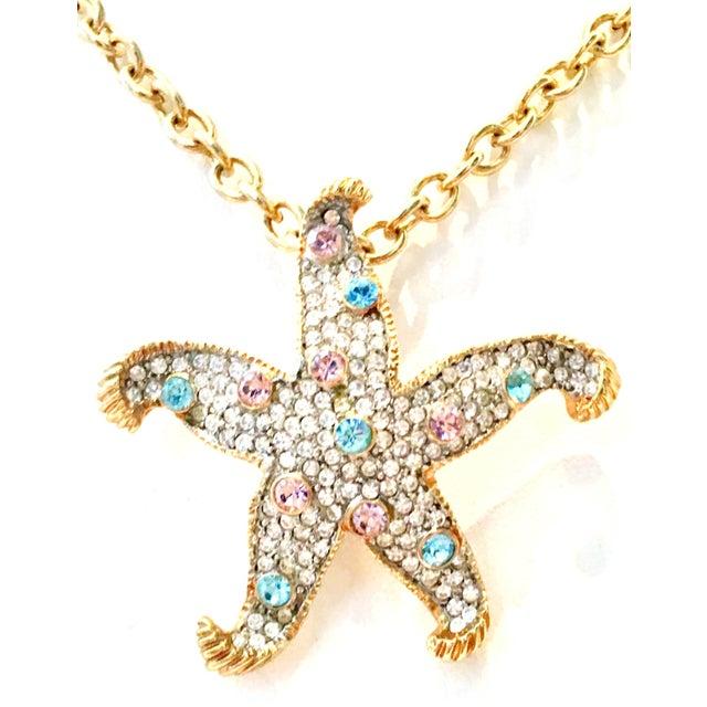 Kenneth Jay Lane 21st Century K. Lane Gold & Swarovski Crystal Starfish Pendant Necklace For Sale - Image 4 of 10