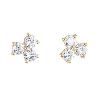 Vintage 3 Stone Diamond Stud 18 Karat Yellow Gold Earrings For Sale