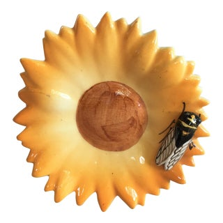 1950s Majolica Yellow Daisy With Cicada Sicard For Sale