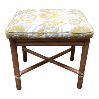Vintage Upholstered Stool by McGuire Furniture For Sale