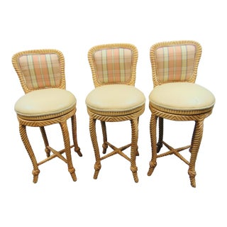 Late 20th Century Hollywood Regency Faux Rope Carved Barstools - Set of 3 For Sale