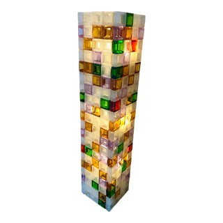 Floor Lamp Glass Cube by Poliarte. Italy, 1970s For Sale