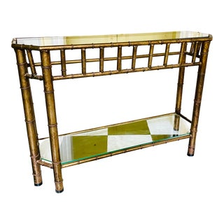 Hollywood Regency Bronze Faux Bamboo Console Table For Sale