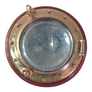 Brass Ship Porthole Convex Art Glass Wall Mirror For Sale